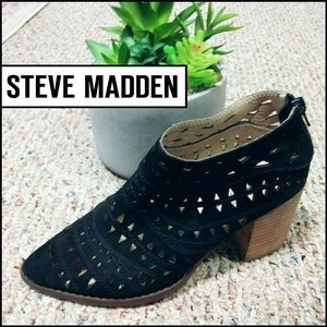 Steve Madden Suede Cut Out Chunky Heel Booties